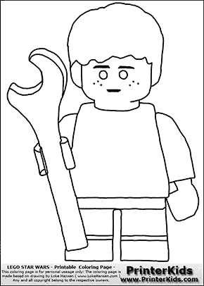 Lego Star Wars - Young Anakin Skywalker - Mechanic with Wrench - Patternless Cloth - Coloring Page