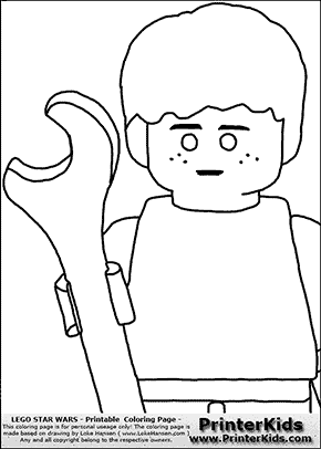 Lego Star Wars - CloseUp Young Anakin Skywalker - Mechanic with Wrench - Patternless Cloth - Coloring Page
