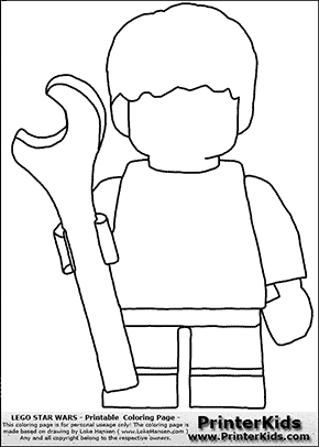 Lego Star Wars - Blank - Young Anakin Skywalker - Mechanic with Wrench - Coloring Page
