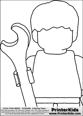 Lego Star Wars - Blank - CloseUp Young Anakin Skywalker - Mechanic with Wrench - Coloring Page