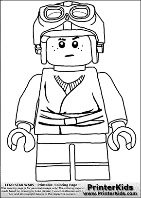 Lego Star Wars - Young Anakin Skywalker - Racer with Helmet and Racing Glasses - Coloring Page