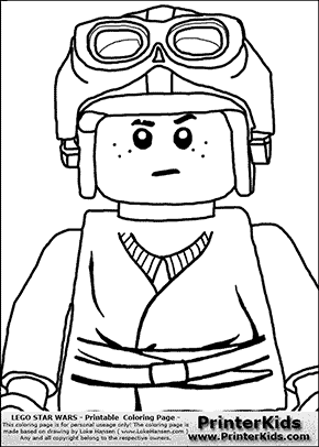 Lego Star Wars - CloseUp Young Anakin Skywalker - Racer with Helmet and Racing Glasses - Coloring Page