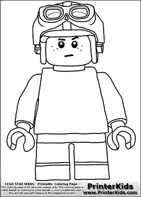 Lego Star Wars - Young Anakin Skywalker - Racer with Helmet and Racing Glasses - Patternless Cloth - Coloring Page