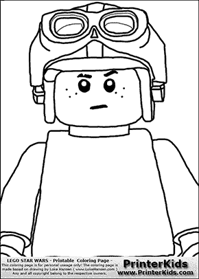 Lego Star Wars - CloseUp Young Anakin Skywalker - Racer with Helmet and Racing Glasses - Patternless Cloth- Coloring Page
