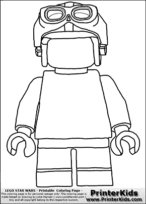 Lego Star Wars - Blank - Young Anakin Skywalker - Racer with Helmet and Racing Glasses - Coloring Page