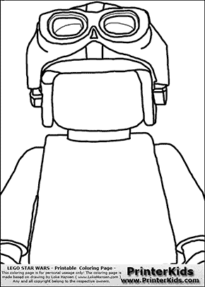 Lego Star Wars - Blank - CloseUp Young Anakin Skywalker - Racer with Helmet and Racing Glasses - Coloring Page
