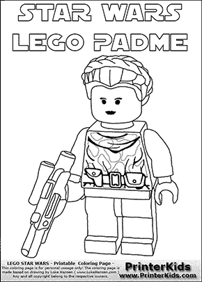 Lego Star Wars - Padme Amidala - Warrior Princess with text - Coloring Page
