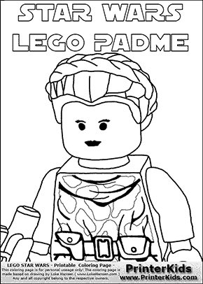 Lego Star Wars - Padme Amidala - Closeup Warrior with text - Coloring Page