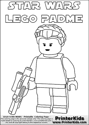 Lego Star Wars - Padme Amidala Holding A Weapon with text - Coloring Page
