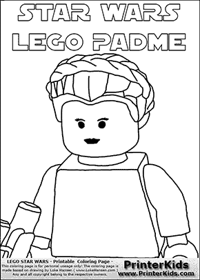 Lego Star Wars - Padme Amidala Closeup with text - Coloring Page