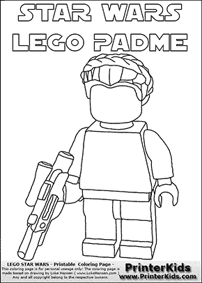 Lego Star Wars - Blank Padme Amidala Holding A Weapon with text - Coloring Page