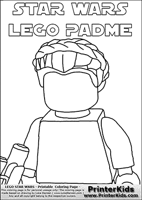 Lego Star Wars - Blank Closeup Padme Amidala Holding A Weapon with text - Coloring Page