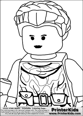 Lego Star Wars - Padme Amidala - Closeup Warrior - Coloring Page