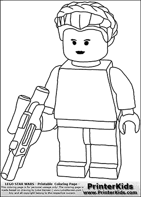 Lego Star Wars - Padme Amidala Holding A Weapon - Coloring Page
