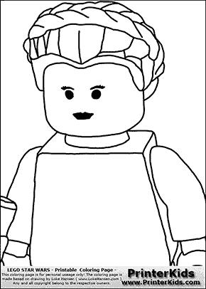 Lego Star Wars - Padme Amidala Closeup - Coloring Page