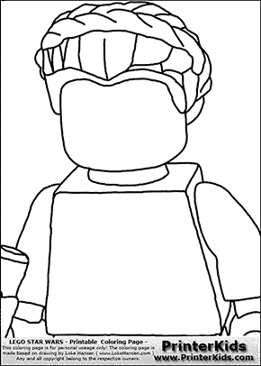 Lego Star Wars - Blank Closeup Padme Amidala Holding A Weapon - Coloring Page