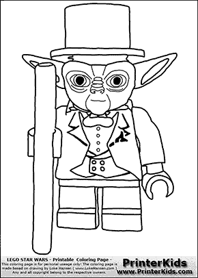 Lego Star Wars - Tuxedo Yoda Flipped - Coloring Page