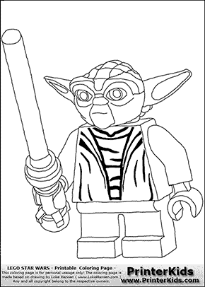 Lego Star Wars - Yoda Battle Ready - Coloring Page
