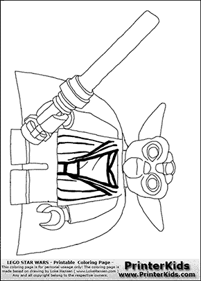 Lego Star Wars - Master Yoda With Cloak - Coloring Page