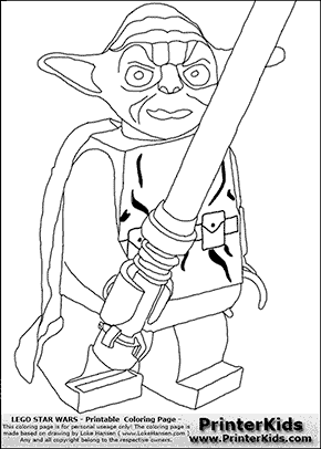 Lego Star Wars - Yoda The Fighter - Coloring Page