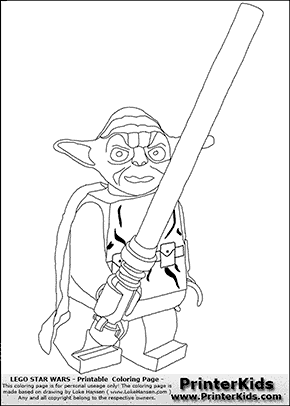 Lego Star Wars - Yoda With Long Lightsaber - Coloring Page