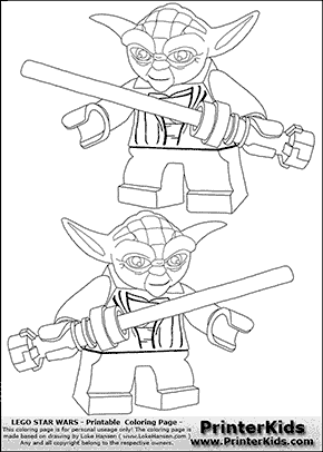 Lego Star Wars - Double Lightsaber Yoda - Coloring Page