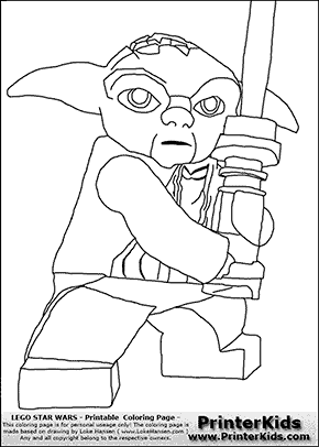 Lego Star Wars - Master Yoda Battle Stance - Coloring Page