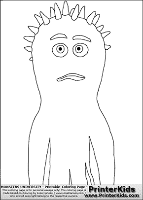 Monsters University - Spiky Squid #4 - Coloring Page