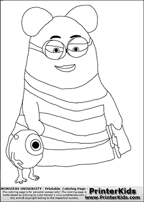 Monsters University - Young Mike With Teacher - Coloring Page