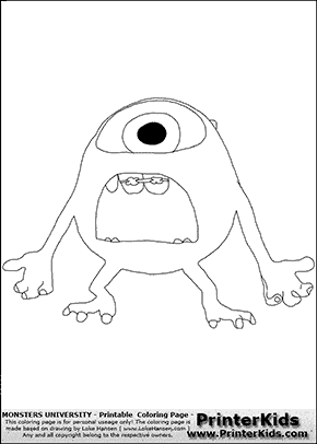 Monsters University - Young Mike Frustrated - Huge Open Mouth - Coloring Page