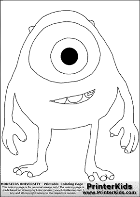 Monsters University - Young Mike Smiling - Coloring Page