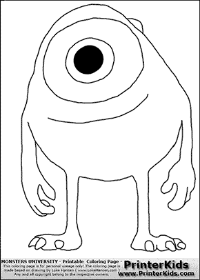 Monsters University - Young Mike - Mike Wazowski #2 - Coloring Page