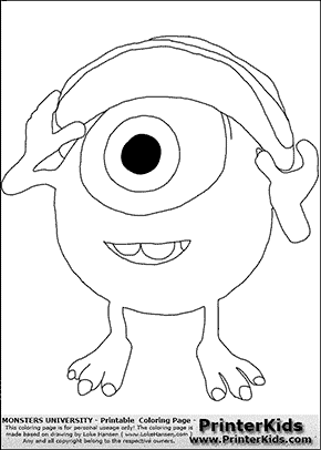 Monsters University - Young Mike Wazowski With Cap On #1 - Coloring Page