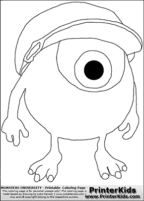 Monsters University - Young Mike Wazowski With Cap On #2 - Coloring Page