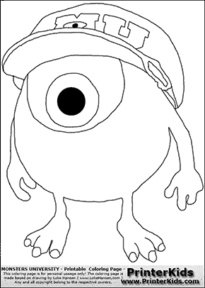 Monsters University - Young Mike Wazowski With Cap On #3 - Coloring Page
