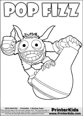 Skylanders Swap Force - SUPER GULP POP FIZZ STANDING ON A FLASK - Coloring Page 1