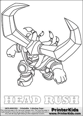 Skylanders Trap Team - HEAD RUSH - Coloring Page 1