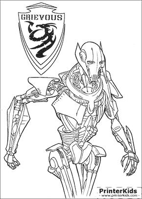 Star Wars - Supreme Commander Grievous - Printable coloring page