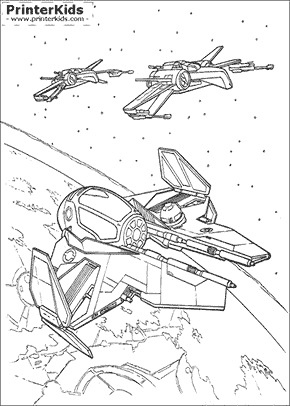 Star Wars - Millennium Falcon and Xwings - Coloring page