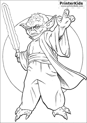 Star Wars - Yoda Force Master - Coloring page