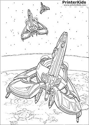 Star Wars - Droid Tri Fighters - Coloring page