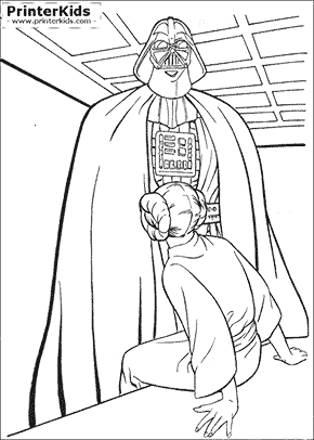 Star Wars - Vader and Leia - Coloring page