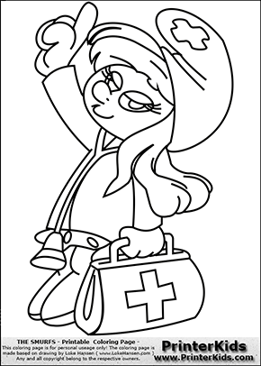 The Smurfs - Doctor Smurfette with bag - Coloring Page 1