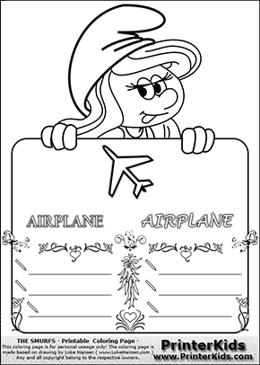 The Smurfs - Smurfette Educational Board - Airplane - Coloring Page 3