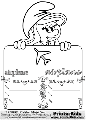 The Smurfs - Smurfette Educational Board - Airplane - Coloring Page 4