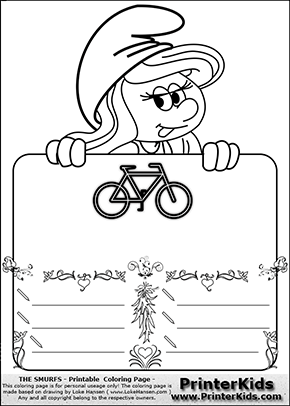 The Smurfs - Smurfette Educational Board - Bicycle - Coloring Page 2
