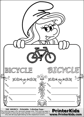 The Smurfs - Smurfette Educational Board - Bicycle - Coloring Page 3