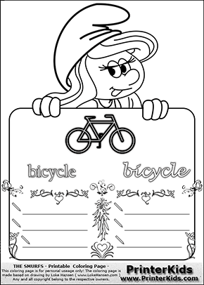 The Smurfs - Smurfette Educational Board - Bicycle - Coloring Page 4