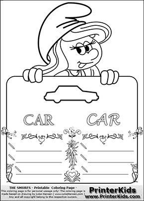 The Smurfs - Smurfette Educational Board - Car - Coloring Page 3