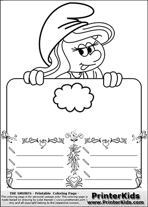 The Smurfs - Smurfette Educational Board - Cloud - Coloring Page 2